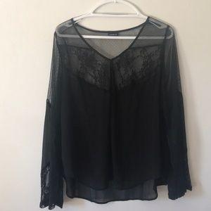 Torrid sheer black bell-sleeve top